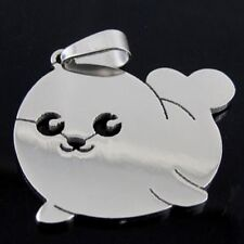 Stainless Steel Baby Seal Sea Lion Cub Lion Charm Pendant Necklace white grey