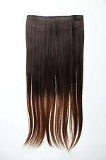 Extension Haarverlängerung Clip-In 5 Clip glatt zweifarbig Ombre Braun 60cm lang