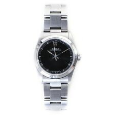 ROLEX 25mm Oyster Perpetual black dial silver stainless steel ladies wrist watch