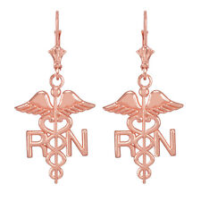 14k Rose Gold Medical Registered Nurse Drop / Dangle Leverback Earrings