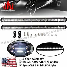 Set of 2 20inch 54W LED Spot Single Row Work Slim Light Bar SUV OFFROAD DRIVING