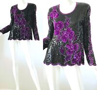 Vintage 80s Sequin Beaded Silk Purple Floral Disco Party Blouse Large