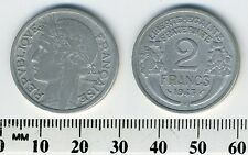 France 1947 B - 2 Francs Aluminum Coin - Laureate head left - Cornucopias