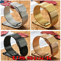 14 - 22mm Stainless Steel Mesh Watch Band Replacement Strap Belt Buckle Clasp US