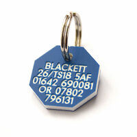 Pet Dog Cat ID Collar Tags - Deeply engraved, 21mm Plastic Octagonal. 7 COLOURS