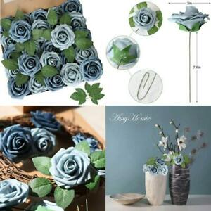 Amyhomie Artificial Flower Dusty Blue Shades Rose 25Pcs Real Looking Fake Roses
