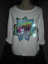 VICTORIA'S SECRET PINK S SEQUIN BLING WOW GRAY PULLOVER LIGHT SWEATSHIRT TOP NWT