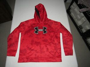 UNDER ARMOUR BOY'S STORM RED CAMOUFLAGE LONG SLEEVE HOODED SWEATSHIRT SIZE XL