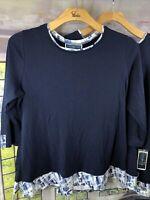 Karen Scott 2x NWT Plus Size Abstract Plaid-Trim 2-fer Blue Top