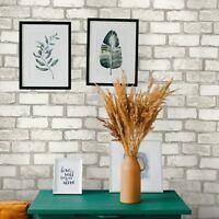 Vinyl Wallpaper wallcoverings textured tan white modern faux brick 3D paintable