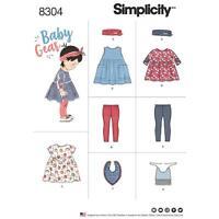 SIMPLICITY SEWING PATTERN BABIES LEGGINGS TOP DRESS BIBS HEADBAND XXS-L 8304