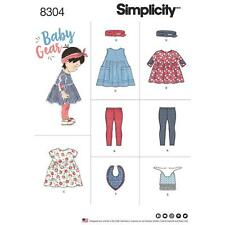 Simplicity Sewing Pattern 8304 Babies Leggings Top Dress Bibs Headband Xxs-l