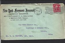 NEW YORK,NEW YORK 1904 COVER ADVT. NEW YORK FREEMANS JOURNAL,CATHOLIC REGISTER.