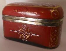 Wonderful Victorian Enameled Case Glass Dresser Box With Bird On Branch Decor