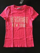 NEW Abercrombie & Fitch Dark Pink Distressed Logo Graphic T Shirt Small
