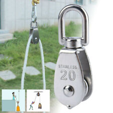 Stainless Steel Pulley Single Wheel Swivel Lifting Rope Pulley Block Tool 20mm