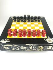 """17"""" Chess Board Wood, Marble, Mother of Pearl, And Crushed Abalone Vintage Rare"""