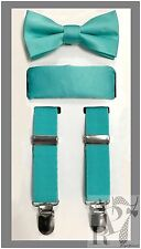 Turquoise Blue NEW Boy's Clip Suspender Bow tie & Pocket Square 3 pieces set