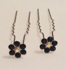 épingle a cheveux bijoux fleur cristal noir et   boréalis  C3