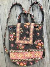 Vera Bradley Chocolat pattern backpack brown floral drawstring purse mimi