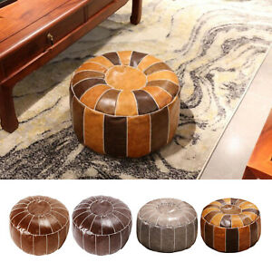 Boho PU Leather Moroccan Pouf Cover Foot Stool Storage Ottoman for Home