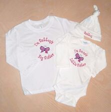 Personalized Butterfly Big Sister Little Baby Sister T SHIRT & CREEPER & HAT Set