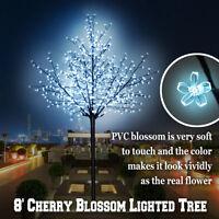 8FT Cherry Blossom Flower Tree 600L LED Light Tree Home Garden Christmas Decor