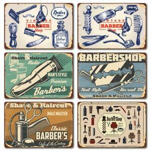 Metal Tin Sign Barber Shop Hair Cut Store Wall Decor Cave Shave Vintage Retro