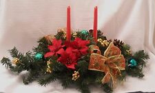 Christmas Centerpiece - Lighted - Two Tapered Candles - Variety of Colors