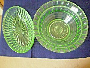 DEPRESSION GREEN GLASS BOWLS X 2. CIRCULAR X 1 AND OVAL X 1 VINTAGE  circ.1930's
