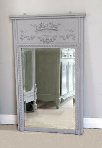 FRENCH ANTIQUE LOUIS XVI STYLE  TRUMEAU MIRROR - LATE 19TH C.- Basket of flowers