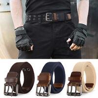 Men Canvas Waist Belt Double Pins Buckle Military Waistband Casual Fashion Decor
