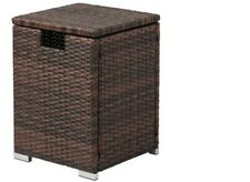 Cosiest Outdoor Hideaway Brown Wicker Tank Table for Gas Fire Pits