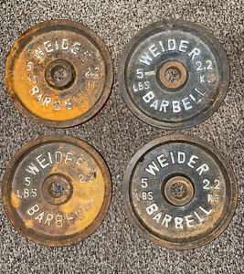 """Lot of four(4) Weider 5lb. Plates Weights 1"""" Standard Hole Barbell Vintage 20lbs"""
