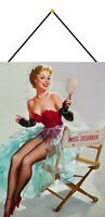 Miss Sylvania Pin Up Girl Schild mit Kordel Metal Tin Sign 20 x 30 cm FA0014-K