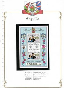 AUGUST/1981 SHEETLET OF 2 $3 MINT ANGUILLA VARIETY ROYAL WEDDING STAMPS