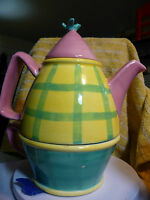 Teapot for One 1  Yellow & Green Plaid Pink Lid Bird on Top 3 cup pot 10 oz cup