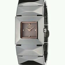 Kenneth Jay Lane 29mm Square Mode Quartz Gunmetal  Ceramic Bracelet Watch