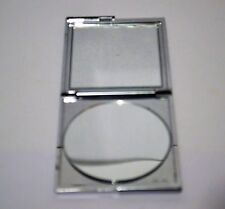 Vintage square chrome compact mirror case hong kong makeup tool collectible