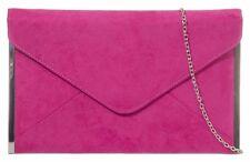 Pink Clutch Bag Cerise Faux Suede Evening Bag Fuchsia Silver Tone Envelope New