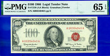 FR-1550 - 1966 $100 US Note (( Popular Red Seal )) PMG Gem 65EPQ # A00354040A