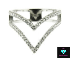 STERLING SILVER .925 CZ MICRO PAVE V SHAPE STACKABLE PROMISE RING SIZE 6-9