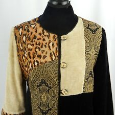 Indigo Moon Tapestry Jacket Size Medium Animal Print Safari Embroidered Lined