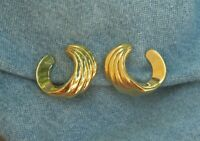 Signed Monet Gold Tone Curl Clip Earrings