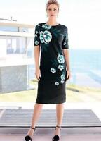 Versatile  and Stylish Fitted Black and Jade Shift Dress with Cut out Detail