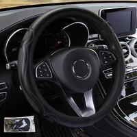 Black Auto Car Steering Wheel Cover Wear-resistant Leather Anti-slip 37cm~38cm