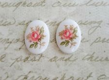 18x13mm Pink Rose Limoge Porcelain Cameos (2) - L544 Jewelry Finding