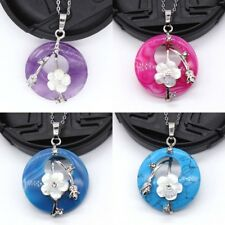 Natural Quartz Crystal Stone Abalone Shell Round Hollow Flowers Pendant Necklace
