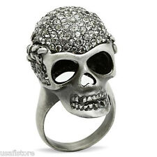 Crystal Stones Pave Skull Antique Silver EP Mens  Ring