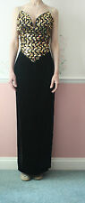 BNWT Trapunta Vintage 80 S Gunne Sax Lustrini Senza Spalline Black Gold Velvet Dress UK 10 12?